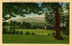 Waynesville North Carolina Piedmont Hotel Tennis Match Vintage Postcard (unused) - Vintage Postcard Boutique