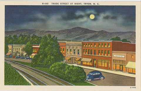 Tryon North Carolina Trade Street at Night Vintage Postcard (unused) - Vintage Postcard Boutique