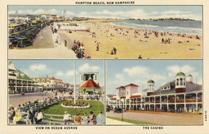 Hampton Beach New Hampshire Casino Ocean Avenue Multi View Vintage Postcard (unused) - Vintage Postcard Boutique