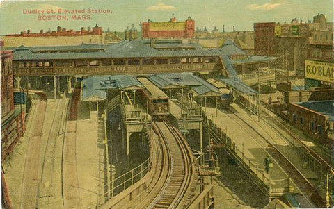 Boston Massachusetts Dudley Street Elevated Station Vintage Postcard circa 1910 (unused) - Vintage Postcard Boutique