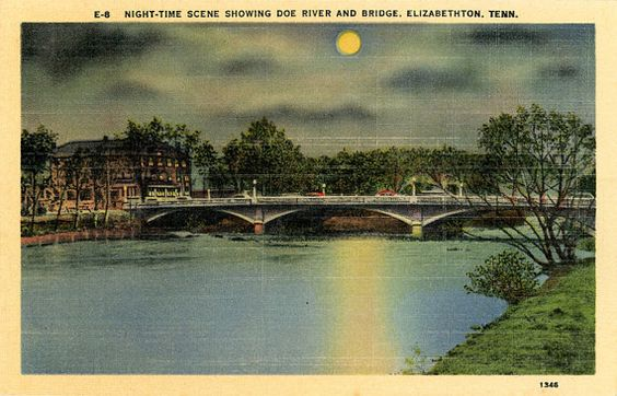 Elizabethton Tennessee Doe River Bridge at Night Vintage Postcard (unused) - Vintage Postcard Boutique