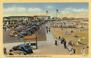 Hampton Beach New Hampshire Playground & Ocean Boulevard Boardwalk Vintage Postcard (unused) - Vintage Postcard Boutique