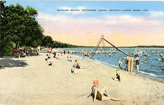 Detroit Lakes Minnesota Bathing Beach Pettibone Lodge Vintage Postcard 1949 - Vintage Postcard Boutique