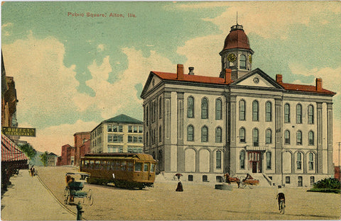 Alton Illinois Public Square Vintage Postcard circa 1910 (unused)
