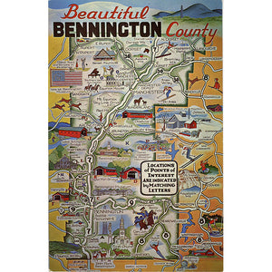 Bennington County Vermont State Map Vintage Postcard (unused) - Vintage Postcard Boutique