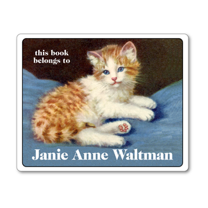 Vintage Blue-Eyed Kitten Personalized Bookplates - Custom Book Labels for Cat Lover - Vintage Postcard Boutique