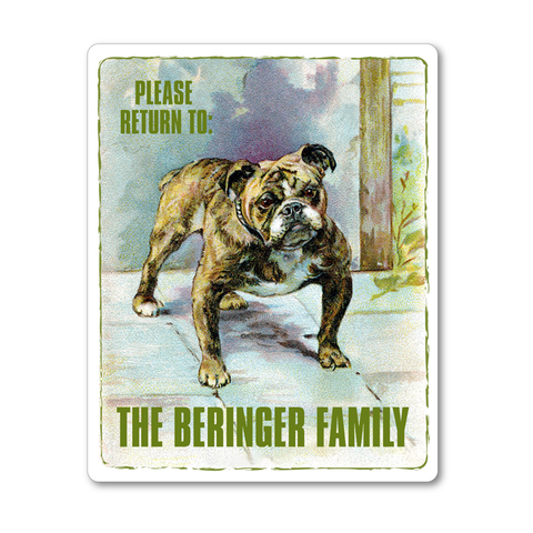 Lovable Bulldog Personalized Vintage Bookplates - Childrens Books - Vintage Postcard Boutique