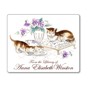 Vintage Cats & Kittens in the Lap of Luxury Personalized Bookplates - Vintage Postcard Boutique
