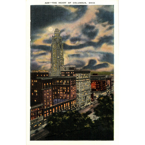 Columbus Ohio High Street at Night - Neil House Huntington Bank Vintage Postcard (unused) - Vintage Postcard Boutique