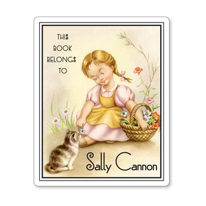 Vintage Personalized Children's Bookplates  - Little Girl Gathering Flowers With Kitten - Baby Shower Gift - Vintage Postcard Boutique