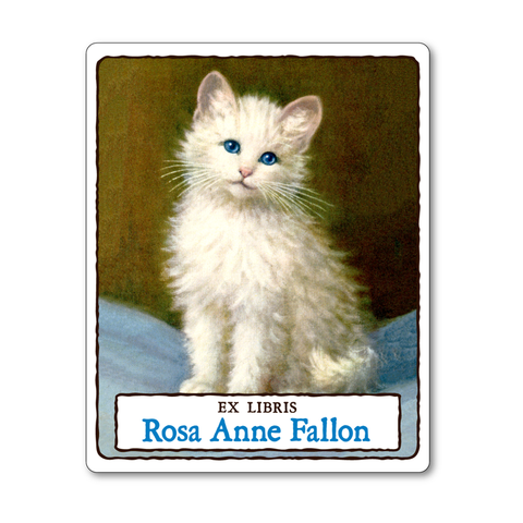 Fluffy White Kitten Personalized Vintage Bookplates - CAT LOVER GIFT - Vintage Postcard Boutique
