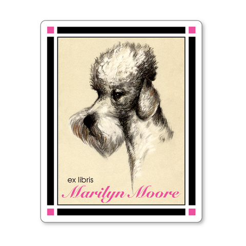 French Poodle Ex Libris Vintage Personalized Vintage Bookplates - HOSTESS GIFT - Vintage Postcard Boutique