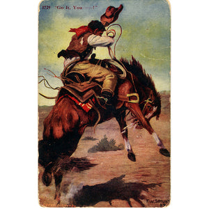 "Vintage Western Postcard – Cowboy on Bucking Bronco ""Go It, You—!"" 1907 (unused) - Vintage Postcard Boutique"