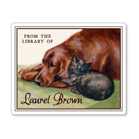 Vintage Irish Setter Dog & Black Kitten Personalized Bookplates - Vintage Postcard Boutique
