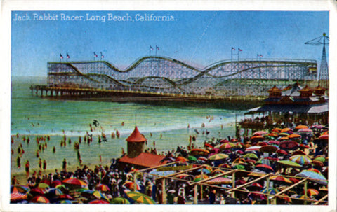 Long Beach California Jack Rabbit Racer Roller Coater Queens Amusement Park Vintage Postcard 1923 - Vintage Postcard Boutique