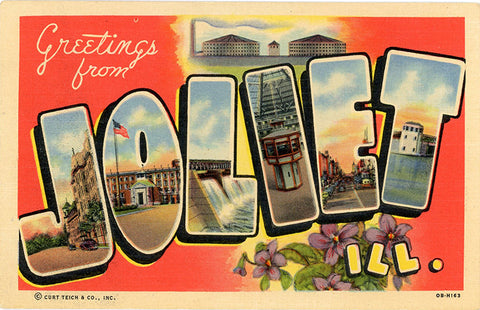 Joliet Illinois Large Letter Vintage Postcard (unused)