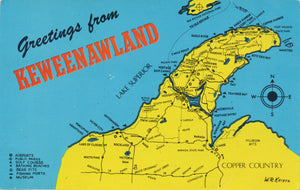 Keweenawland Map Michigan's Copper Country Vintage Postcard 1980 - Vintage Postcard Boutique