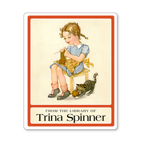 Vintage Personalized Bookplates - Little Girl Knitting with Playful Kitten - Children's Book Labels - Vintage Postcard Boutique