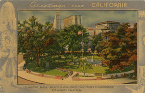 Los Angeles California Historic Plaza & Civic Center Near Olvera Street Vintage Postcard 1950 - Vintage Postcard Boutique