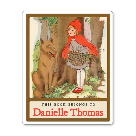 Vintage Little Red Riding Hood Personalized Fairy Tale Bookplates - Childrens Books - Vintage Postcard Boutique