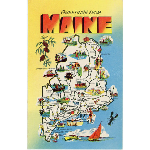 Maine State Map Pine Tree State Vintage Postcard (unused) - Vintage Postcard Boutique