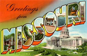 Missouri Large Letter Vintage Linen Greetings Postcard (unused) - Vintage Postcard Boutique