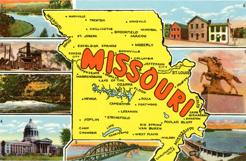 Missouri State Map Lake Taneycomo Hannibal Vintage Postcard (unused) - Vintage Postcard Boutique
