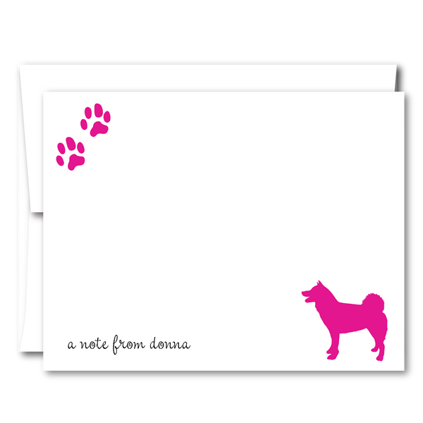 Paw Prints Personalized Dog Breed Flat Note Cards (6 colors) - Vintage Postcard Boutique