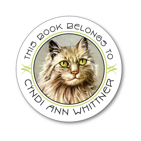 Vintage Green-Eyed Cat Personalized Round Bookplates - Vintage Postcard Boutique