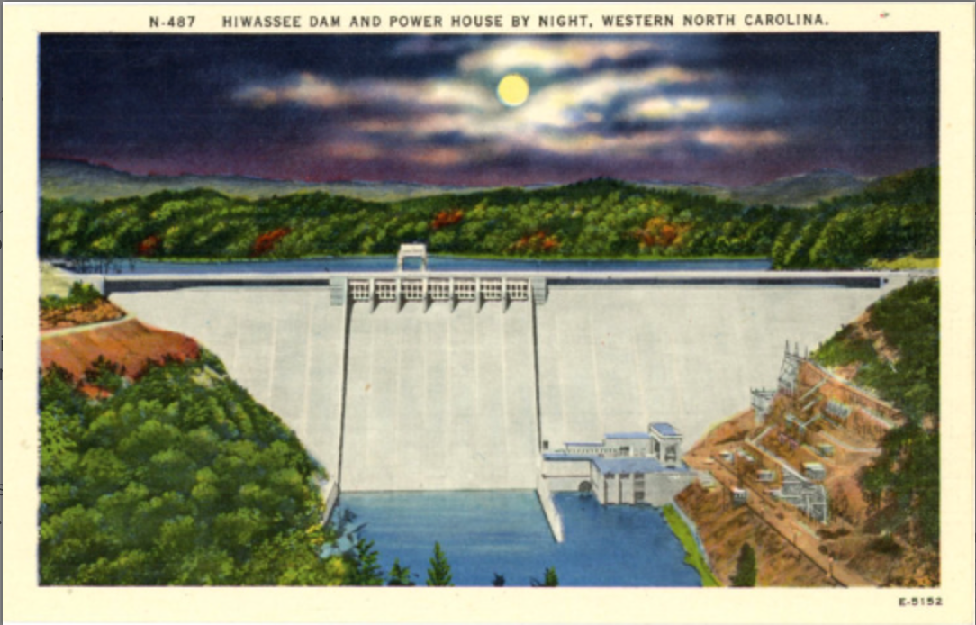 Hiwassee Dam & Power House in Moonlight Western North Carolina Vintage Postcard (unused) - Vintage Postcard Boutique