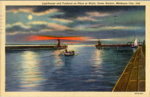 Michigan City Indiana Lighthouse & Foghorn on Outer Harbor Piers at Night Vintage Postcard 1952 - Vintage Postcard Boutique