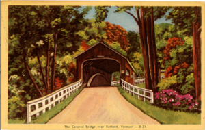 Rutland Vermont Covered Bridge & Autumn Foliage Vintage Postcard 1948 - Vintage Postcard Boutique
