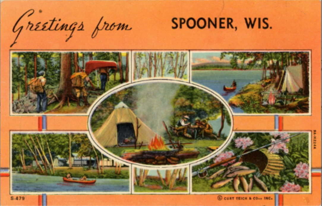 Spooner Wisconsin Multi View Camping Boating Vintage Postcard 1948 - Vintage Postcard Boutique