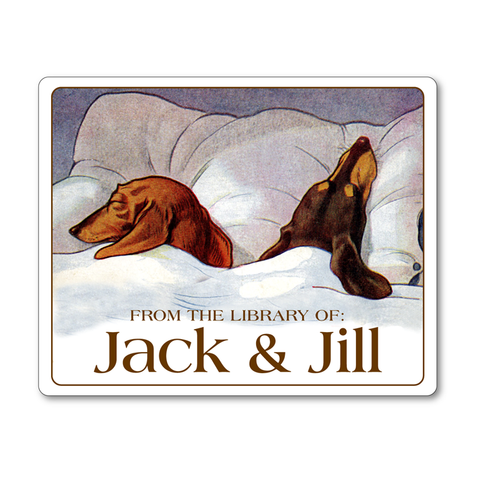 Sleeping Dachshunds Personalized Ex Libris Bookplates - DOG LOVER GIFT - Vintage Postcard Boutique