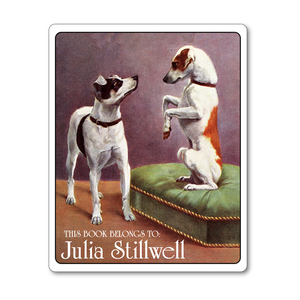 Frisky Fox Terriers Personalized Vintage Bookplates - DOG LOVER GIFT - Vintage Postcard Boutique