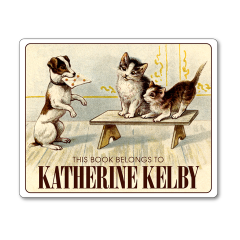 Special Delivery Dog & Kittens Vintage Personalized Bookplates - CHILDREN'S BOOKS - Vintage Postcard Boutique