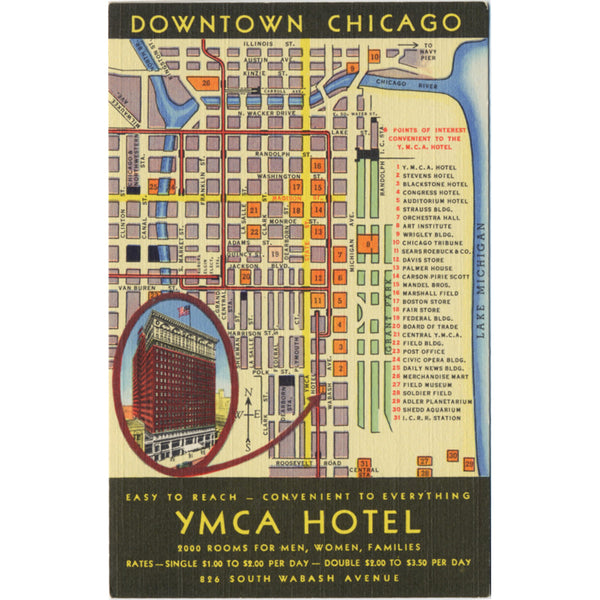 Chicago Illinois YMCA Hotel Downtown Tourist Map Vintage Postcard (unused) - Vintage Postcard Boutique