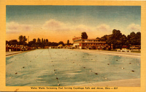 Water Works Swimming Pool Cuyahoga Falls Akron Ohio Vintage Postcard (unused)