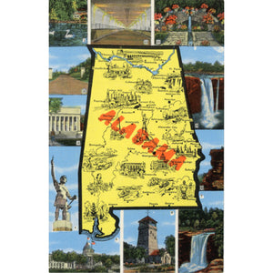 Alabama State Map Vintage Postcard (unused) - Vintage Postcard Boutique