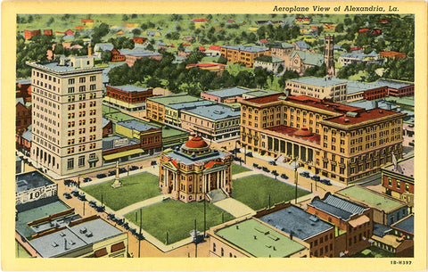 Alexandria Louisiana Aerial View of Business Center Vintage Postcard (unused)