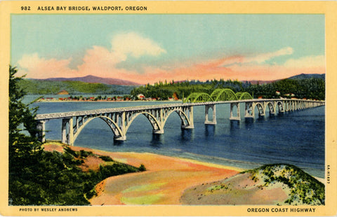 Waldport Oregon Alsea Bay Bridge Vintage Postcard (unused) - Vintage Postcard Boutique