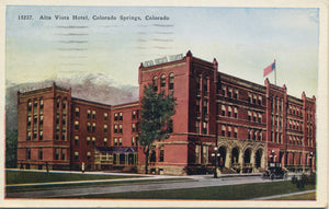 Colorado Springs Alta Vista Hotel Colorado Vintage Postcard 1928 - Vintage Postcard Boutique