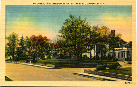 Anderson South Carolina Main Street Residences Vintage Postcard (unused) - Vintage Postcard Boutique