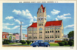 Anderson County Court House South Carolina Antique Autos Vintage Postcard (unused) - Vintage Postcard Boutique