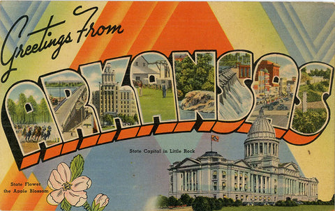 Arkansas Large Letter Bear State Vintage Linen Postcard (unused) - Vintage Postcard Boutique