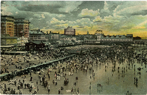 Atlantic City in August People on Beach New Jersey Vintage Postcard circa 1910 (unused) - Vintage Postcard Boutique