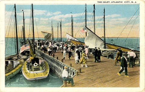 Atlantic City New Jersey Inlet Yachting Pier Vintage Postcard 1923 - Vintage Postcard Boutique