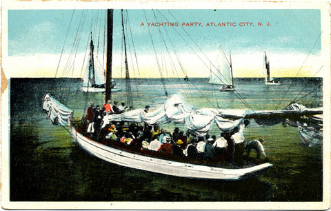 Atlantic City New Jersey Yachting Party Vintage Postcard circa 1900 - Vintage Postcard Boutique
