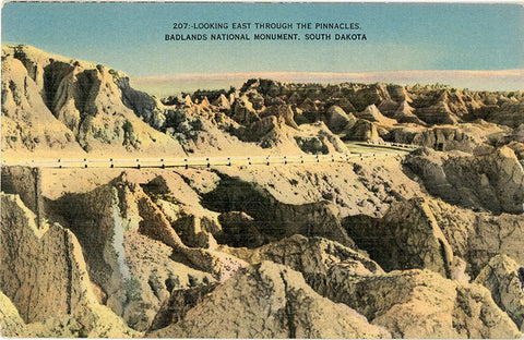 Badlands National Monument Looking East Through Pinnacles South Dakota Vintage Postcard 1947 - Vintage Postcard Boutique