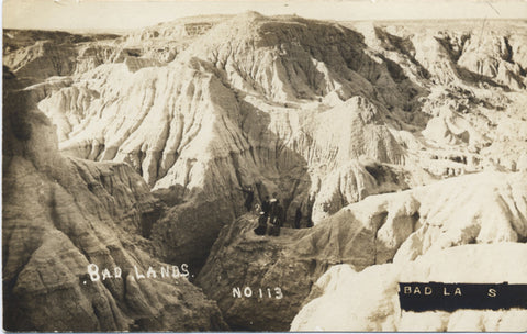 Badlands National Park People on Rocks RPPC Vintage Postcard circa 1918 - Vintage Postcard Boutique